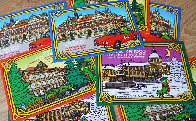 Kreslené pohlednice - Hořovice