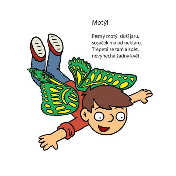 Motýl - ilustrace k básničce pro děti od Jiřího Žáčka